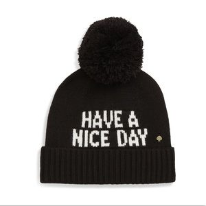 NWT Kate Spade Have A Nice Day Beanie Hat